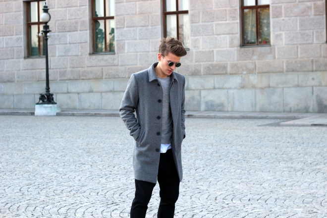 Menswear Deutschland grauer Mantel dennisglanz look grey autumn Dennis Glanz Only and Sons Selcted Homme Style Deutschland